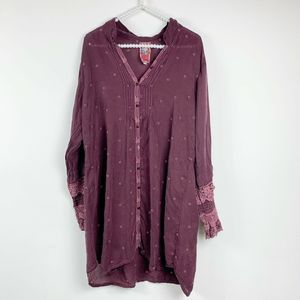 Johnny Was Embroidered Ruffle Tunic maroon L